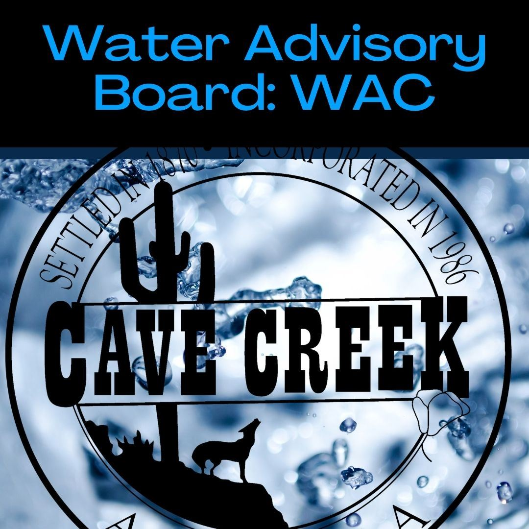 Text reading Water Advisory Board over Town of Cave Creek seal