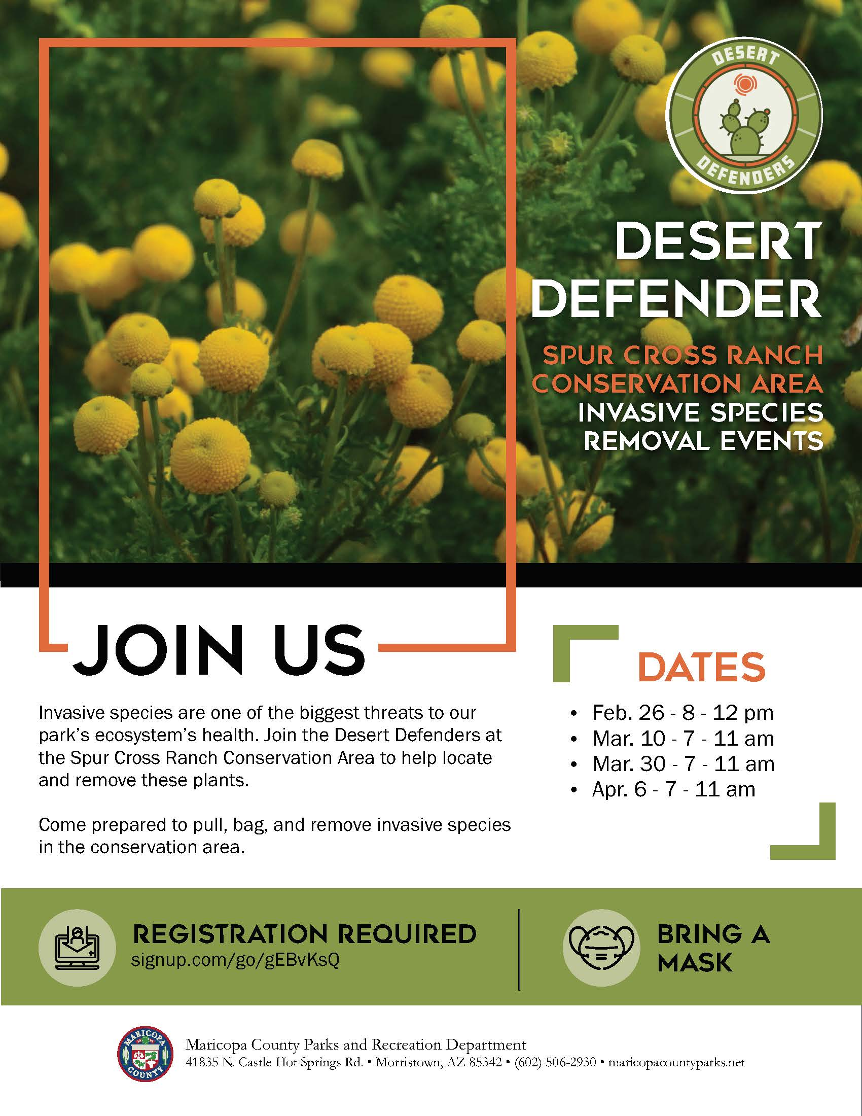Desert Defenders at Spur Cross Ranch March and April 2021