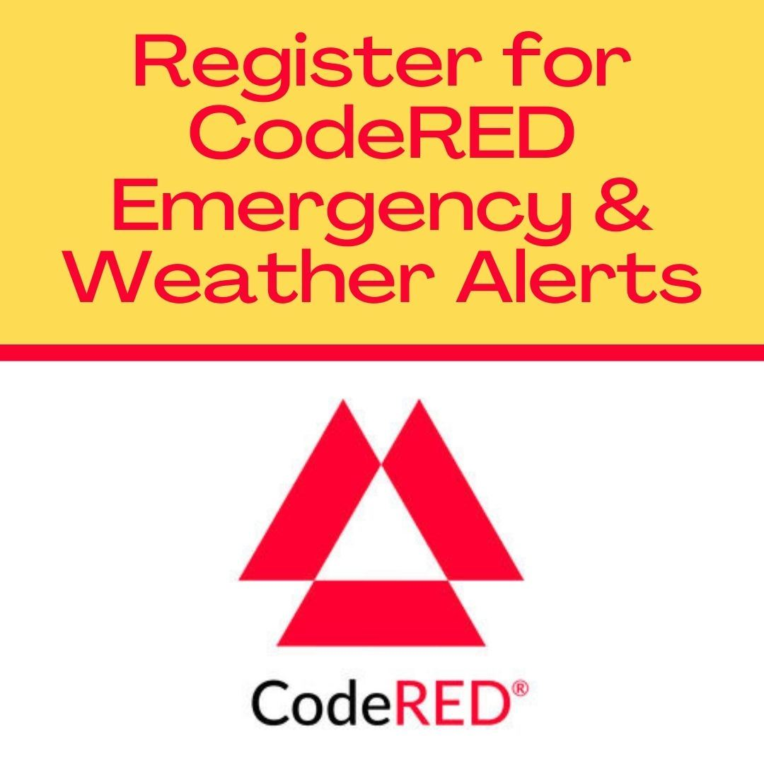 Text reading Register for CodeRED